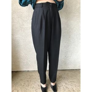 [vintage] ultra high waist black tapered trousers
